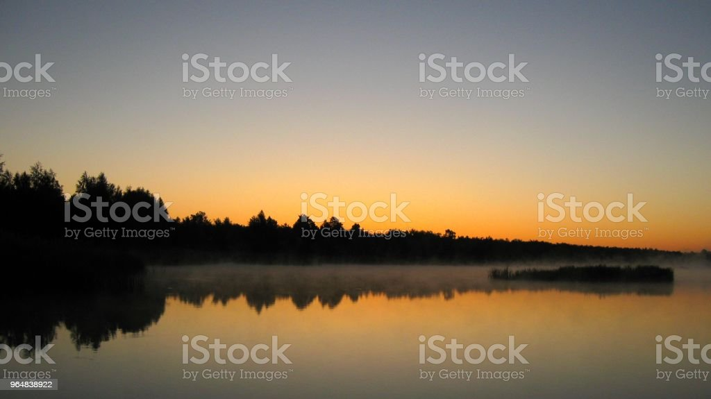 Fog on the lake royalty-free stock photo