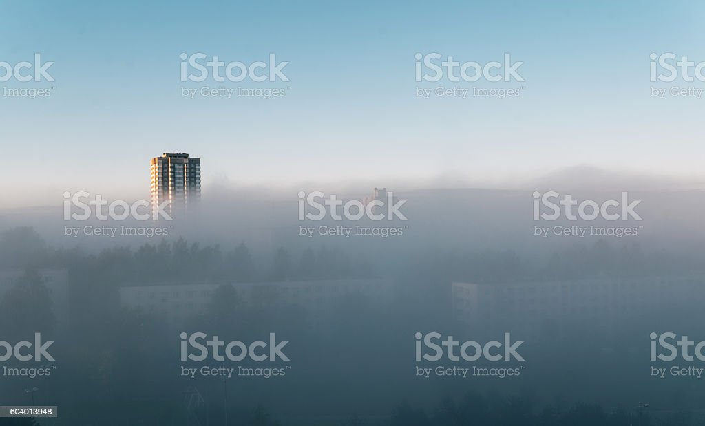 fog on the morning city street stock photo