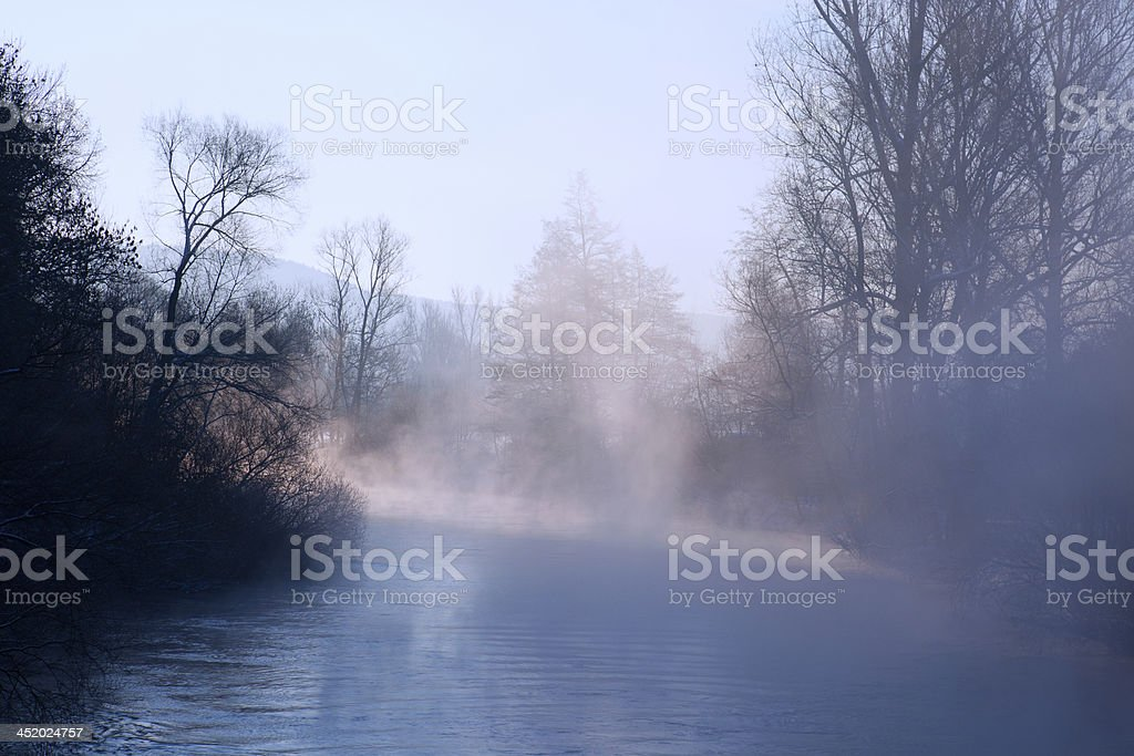 Fog on the river Saale stock photo