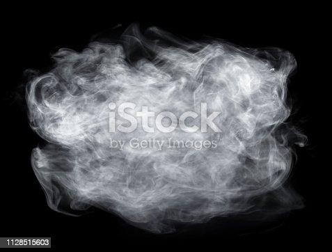 Fog or smoke isolated on black background. White cloudiness, mist or smog background.