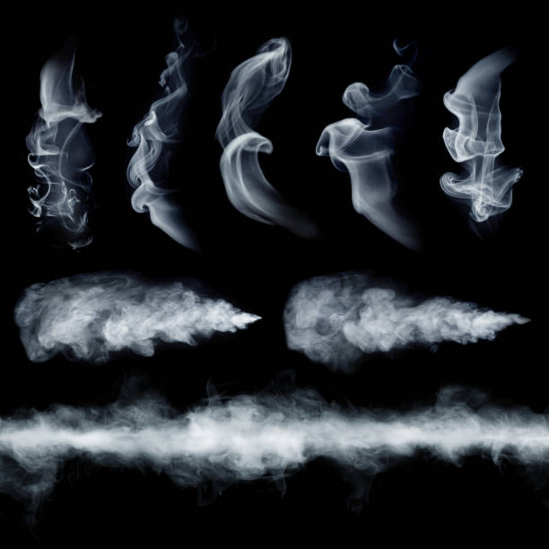 Fog or smoke set isolated on black background. stock photo