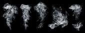istock Fog or smoke set isolated on black background. 1231390421