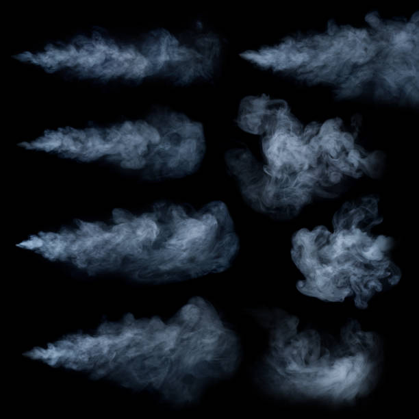 fog or smoke set isolated on black background. white cloudiness, mist or smog background. - smoke physical structure stock pictures, royalty-free photos & images