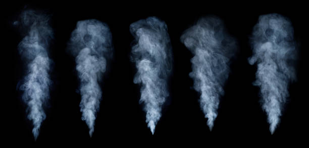 Fog or smoke set isolated on black background. White cloudiness, mist or smog background. stock photo