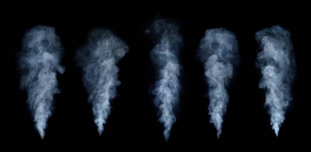 霧や煙セット黒の背景に分離されました。白曇り、霧・ スモッグの背景。 - 湯気 ストックフォトと画像