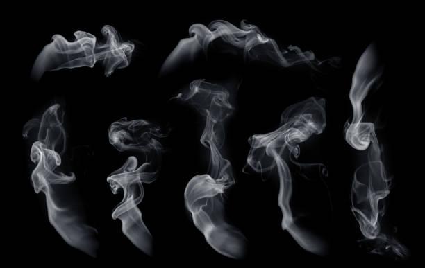 fog or smoke set isolated on black background. white cloudiness, mist or smog background. - {{asset.href}} foto e immagini stock
