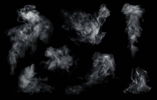 fog or smoke set isolated on black background. white cloudiness, mist or smog background. - vapore foto e immagini stock