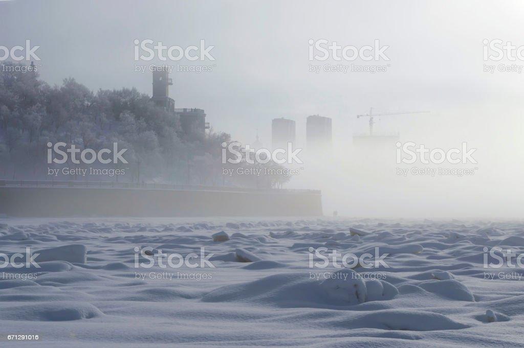 Nebel über Amur Böschung. Chabarowsk, Fernost, Russland. – Foto