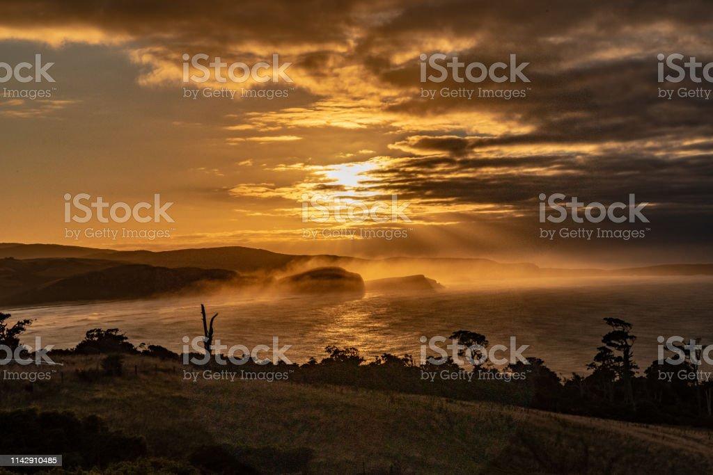 Fog over beach stock photo