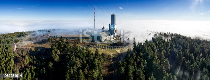 Feldbrg plateau, Taunus mountains, Germany - panoramic aerial view
