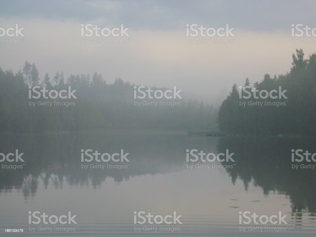 Fog over lake royalty-free stock photo
