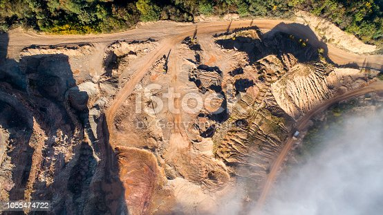 Fog over quarry, gravel  pit, open mining - aerial view
