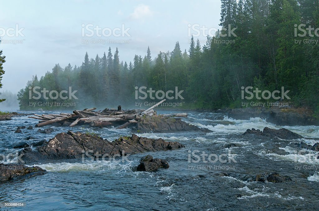 Fog over rapids. Early morning. stock photo