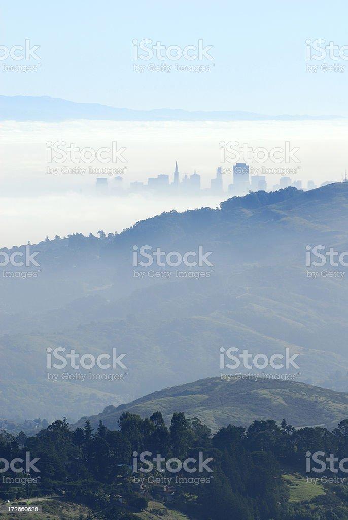 Fog over San Francisco stock photo