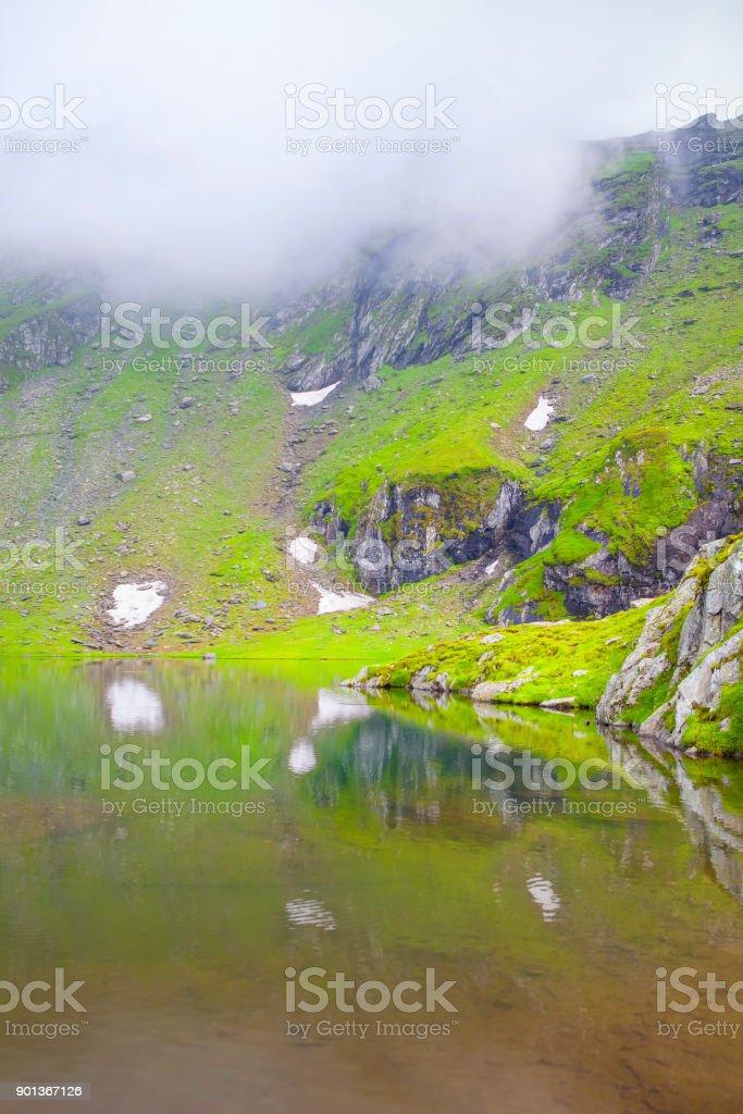 fog over the lake stock photo