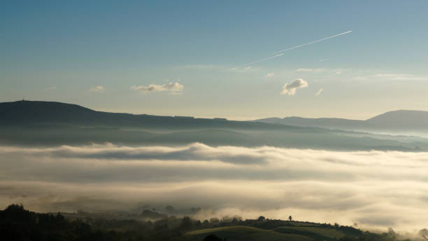 Fog over the Shannon River stock photo