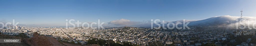 Fog rolling in Sutro San Francisco Castro Mission downtown panorama stock photo