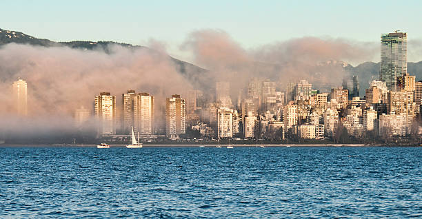 Fog Rolling Into Downtown Vancouver stock photo