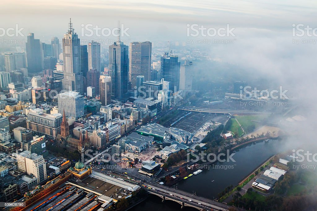 Fog rolling over Melbourne stock photo