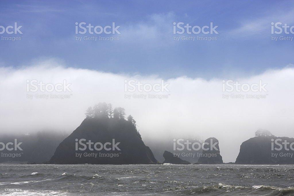Fog Stack Rock Coast Ruby Beach royalty-free stock photo