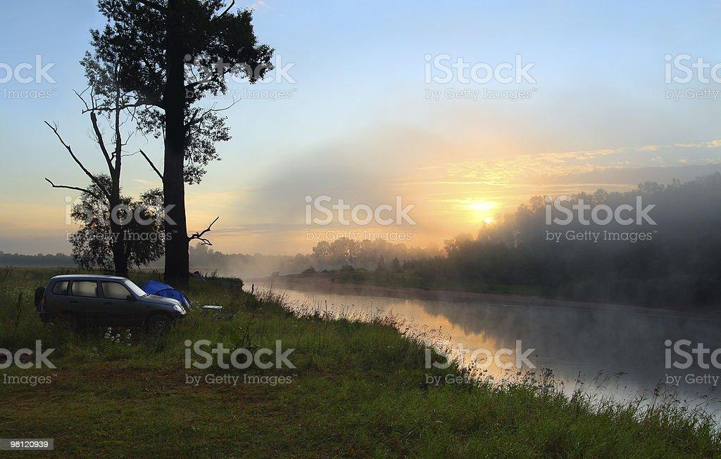 fog sunrise on the river royalty-free stock photo
