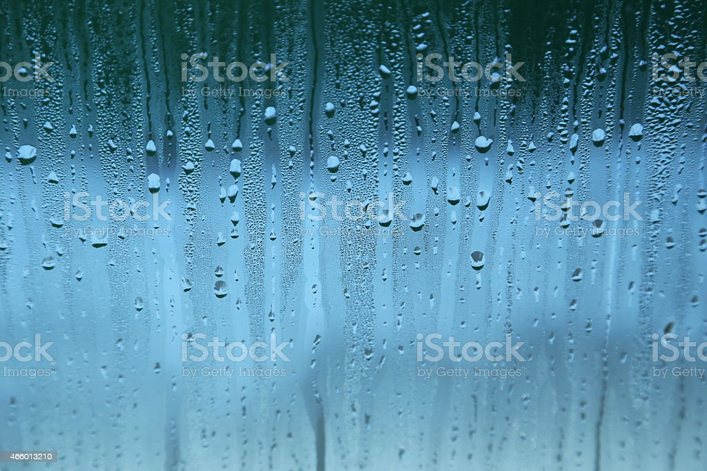 Fogged up glass with many drops stock photo