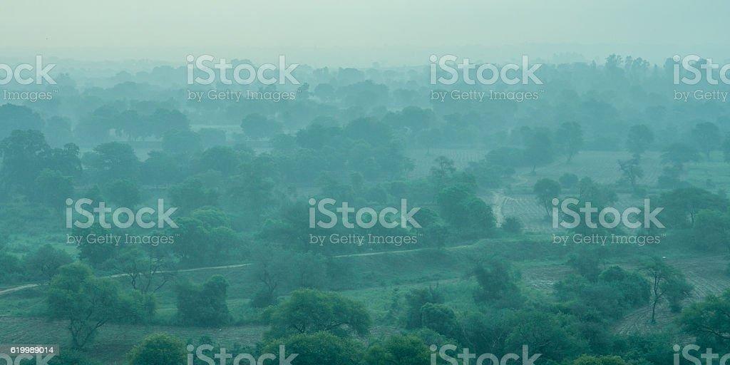 Foggy asian landscape stock photo