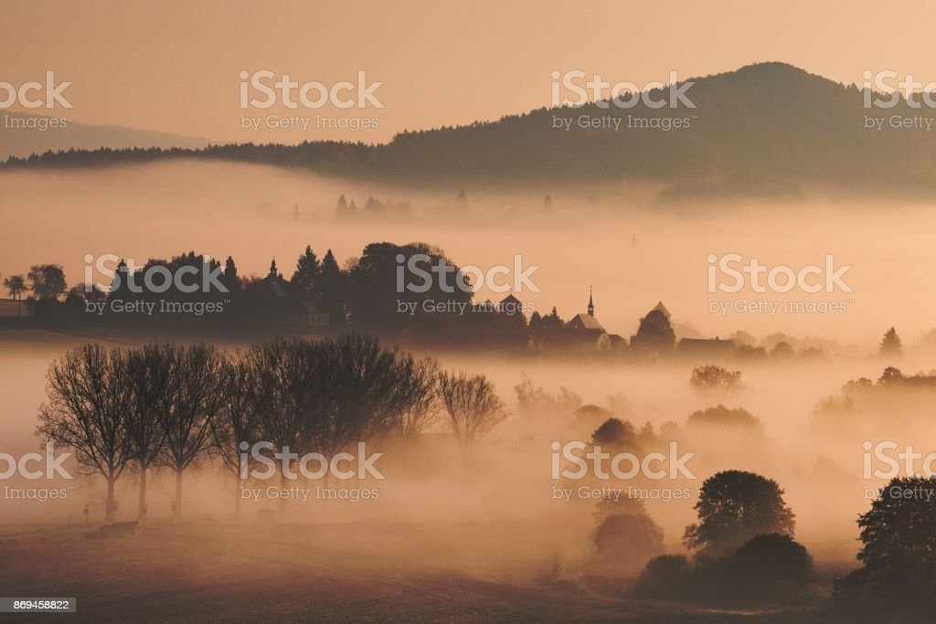 Foggy autumn morning in Bohemian Paradise, Czech republic stock photo