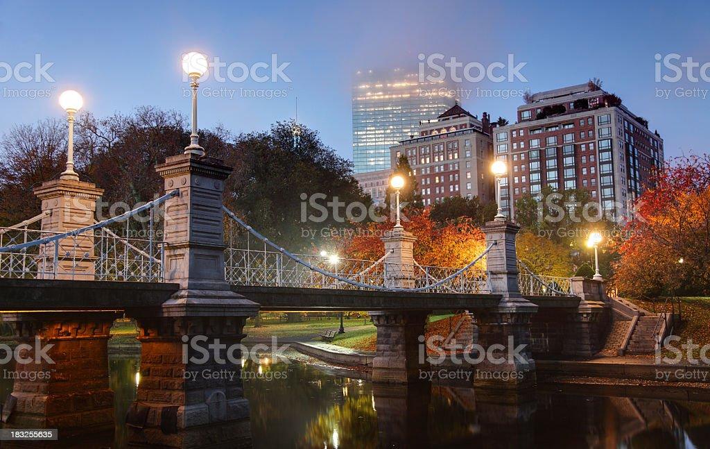 Foggy Autumn Morning in Boston royalty-free stock photo