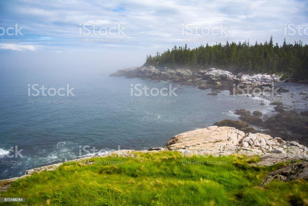 Foggy Bay on Isle au Haut, Acadia National Park, Maine stock photo