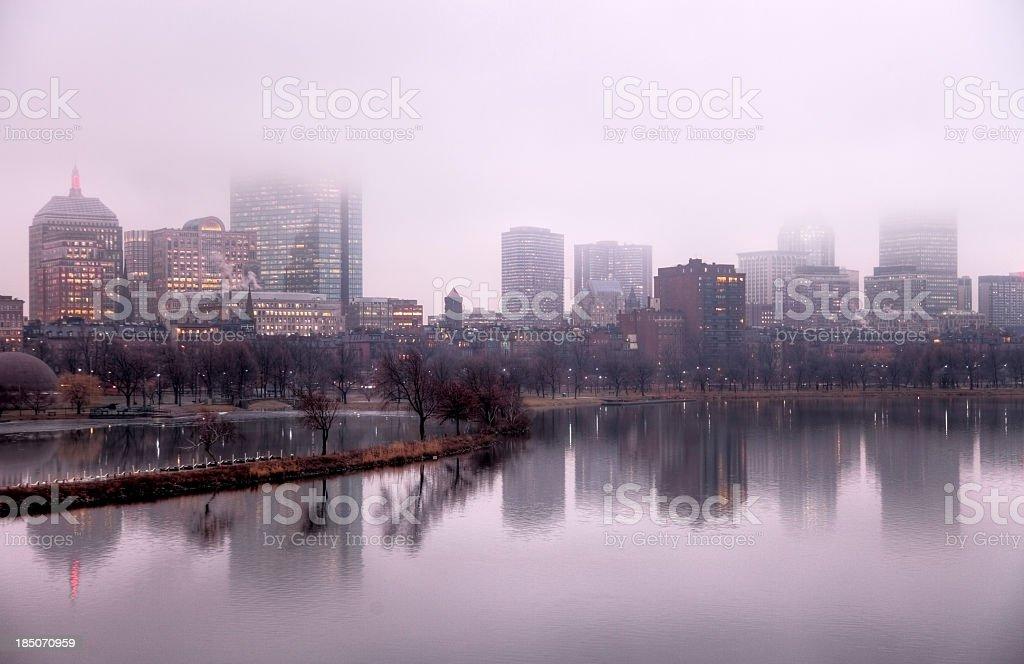 Foggy Boston royalty-free stock photo
