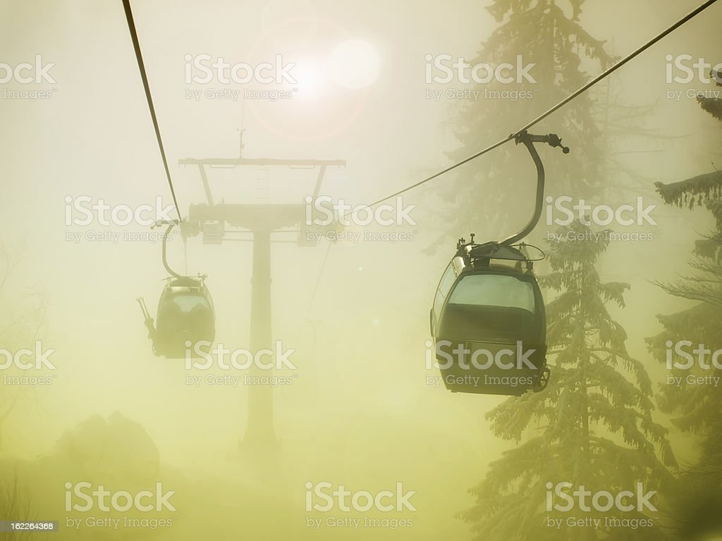 Foggy cable car royalty-free stock photo