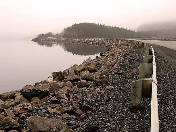 Foggy Causeway stock photo