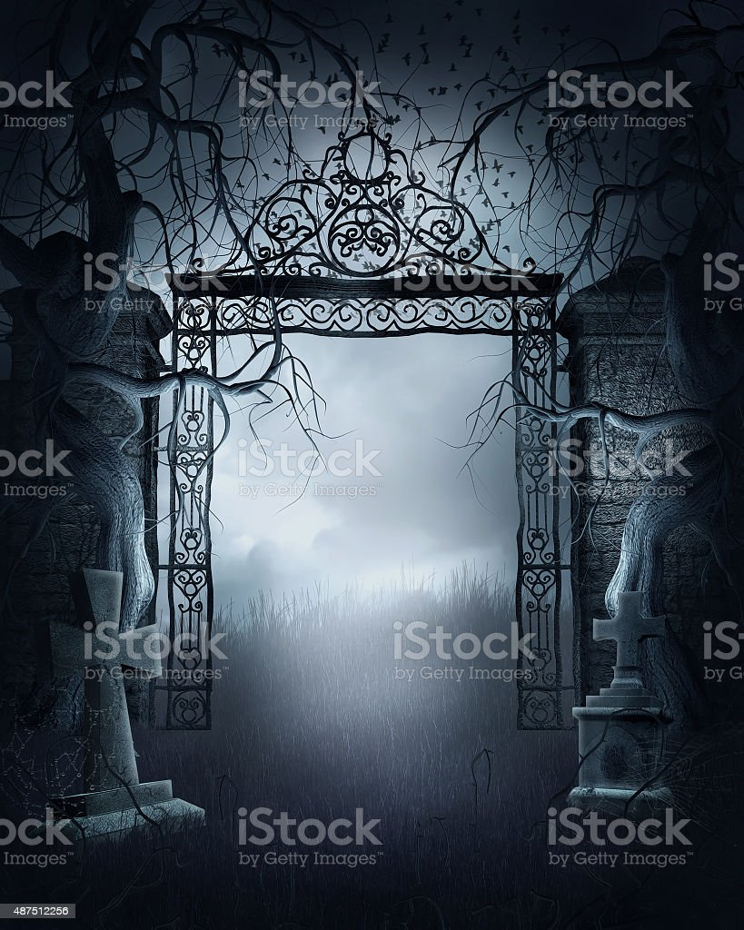 Foggy cemetery gate stock photo
