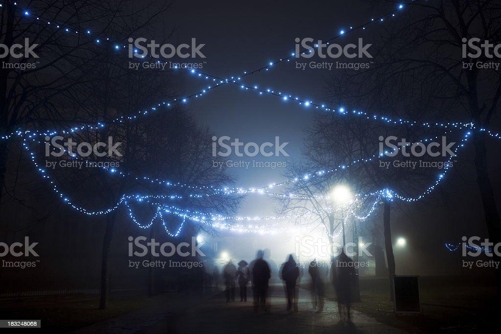 Foggy Christmas evening royalty-free stock photo