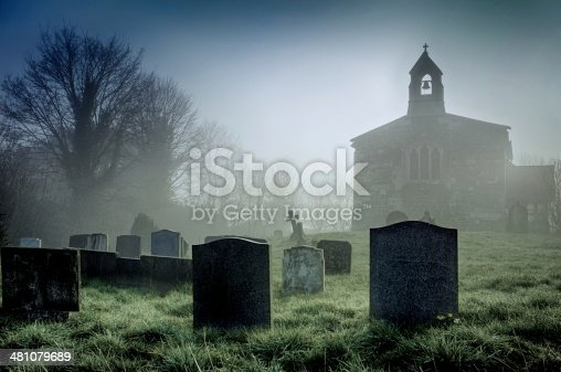 A misty dawn at a deserted church on the Lincolnshire Wolds, England.