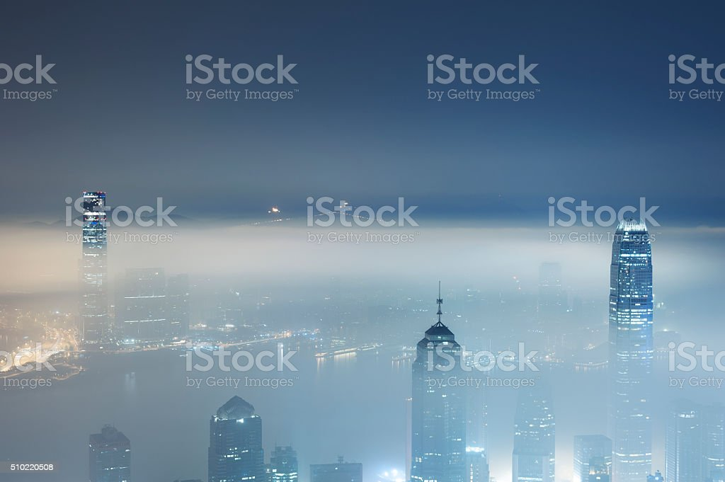 foggy city stock photo