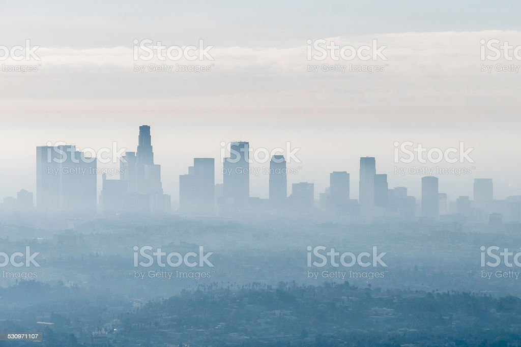 Foggy City View Downtown Los Angeles stock photo