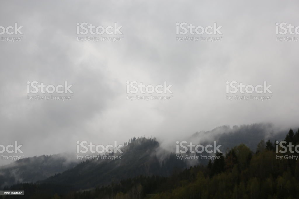 foggy clouds rising from dark alpine mountain forest stock photo