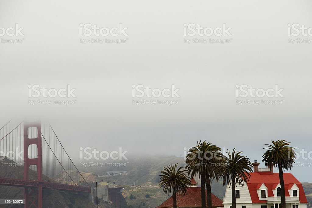 Foggy Crissy Field Golden Gate Bridge royalty-free stock photo