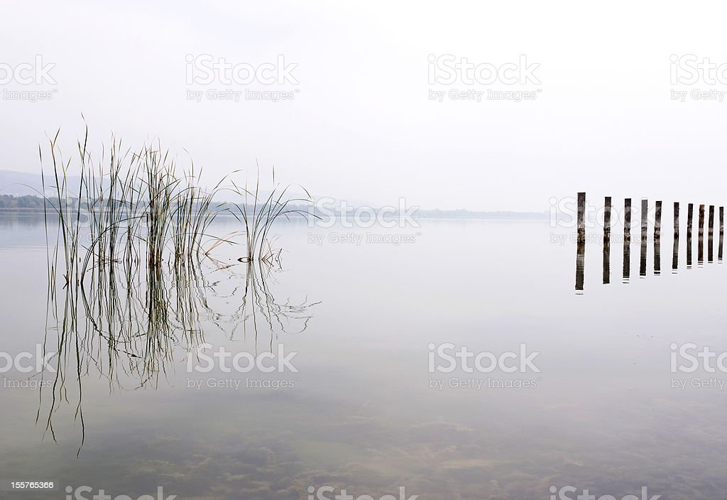 Foggy day at Lake Balaton,Hungary royalty-free stock photo
