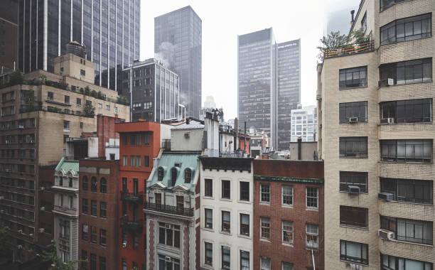 Foggy day in New York City. stock photo