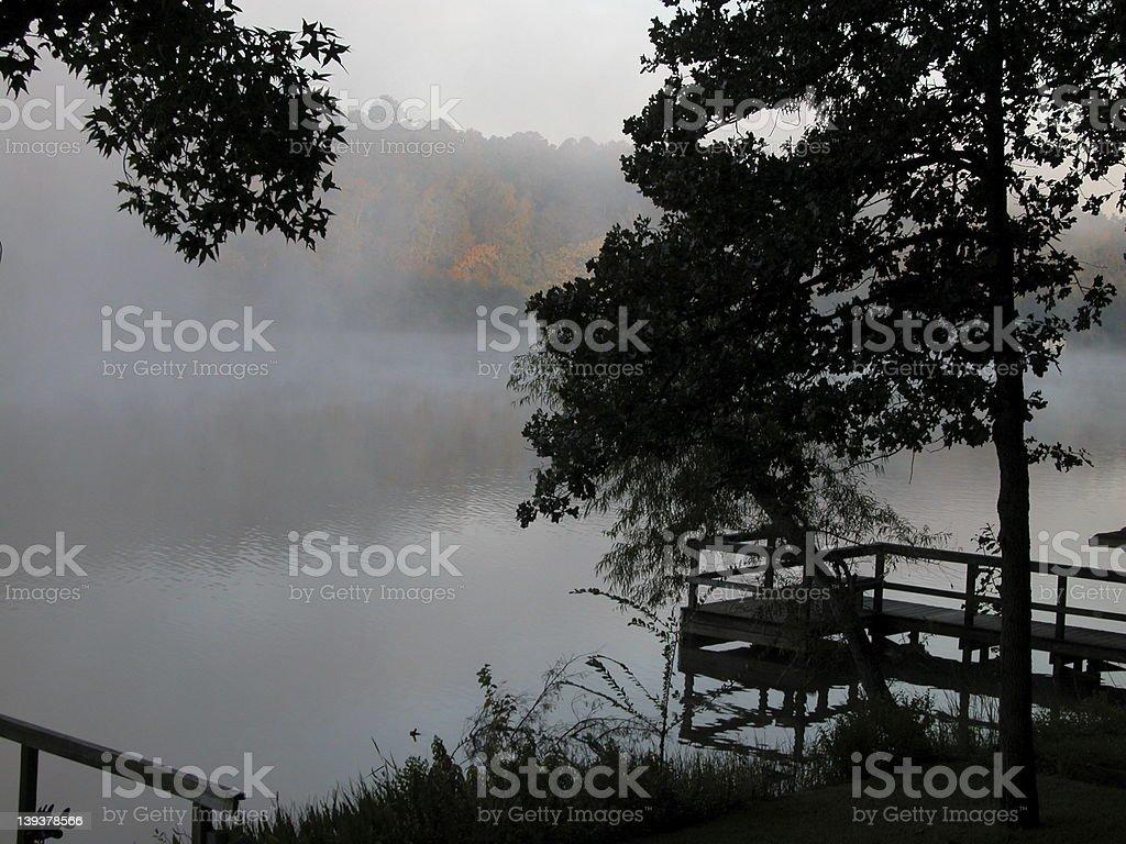 Foggy dock royalty-free stock photo