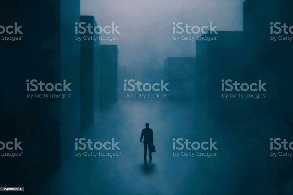 Foggy empty street at night stock photo