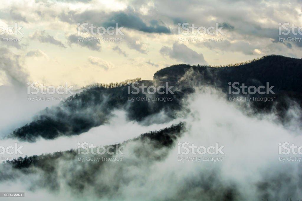 Foggy Evening Along the Blue Ridge Mountains stock photo