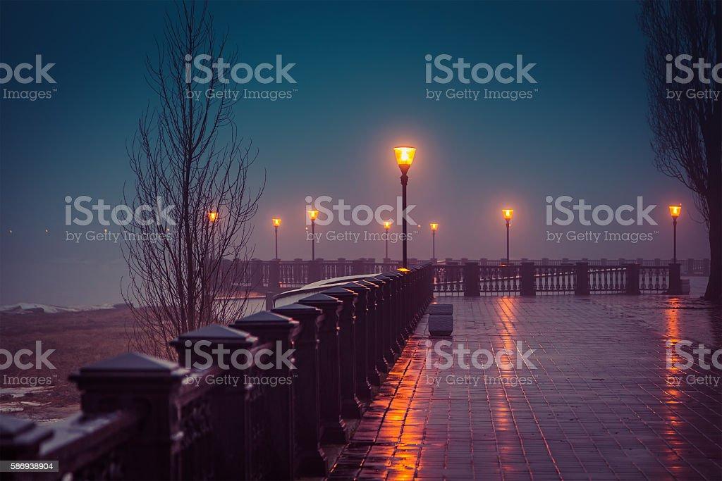 Foggy evening at the waterfront Taganrog winter stock photo