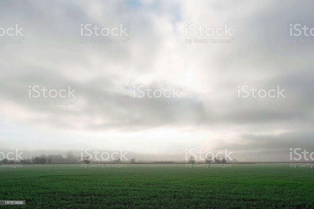foggy farm field royalty-free stock photo