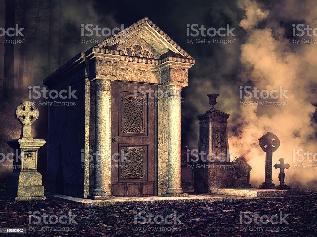 Foggy graveyard at night stock photo
