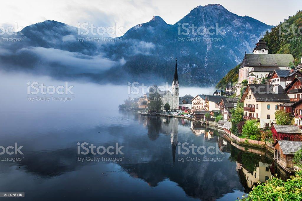 Foggy Hallstatt in autumn stock photo