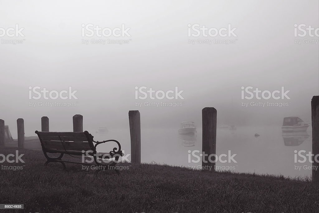 Foggy Harbour royalty-free stock photo